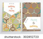 two cards of invitation. made... | Shutterstock .eps vector #302852723