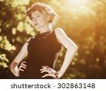 beauty outdoor female portrait. ... | Shutterstock . vector #302863148