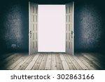 opened door. abstract interior... | Shutterstock . vector #302863166