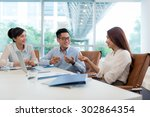 group on young vietnamese...   Shutterstock . vector #302864354