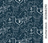 tattoo seamless pattern with... | Shutterstock .eps vector #302868290