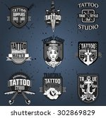 homemade tattoo logos and badges | Shutterstock .eps vector #302869829
