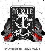 homemade tattoo t shirt design. ... | Shutterstock .eps vector #302870276