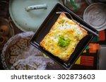 cheesy garlic bread | Shutterstock . vector #302873603
