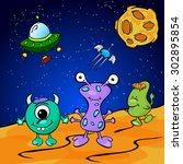 funny monsters in space.... | Shutterstock . vector #302895854