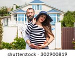 beautiful young pregnant woman... | Shutterstock . vector #302900819