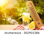 thermometer shows a high... | Shutterstock . vector #302901386