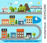 city infographics design... | Shutterstock .eps vector #302902280