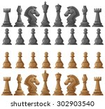 Chess Set Pieces On White...