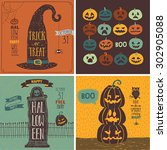 halloween cards set. vector... | Shutterstock .eps vector #302905088