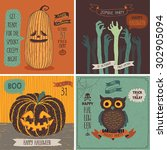 halloween cards set. vector... | Shutterstock .eps vector #302905094