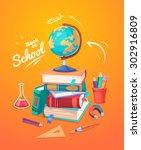 back to school. set of school... | Shutterstock .eps vector #302916809