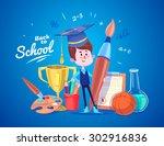 cute school children. school... | Shutterstock .eps vector #302916836