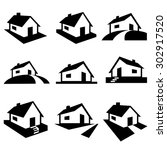 Stock vector house silhouette icons vector 302917520