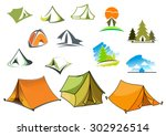 tourism and camping symbols... | Shutterstock .eps vector #302926514