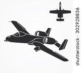 military jet silhouette. bomber ... | Shutterstock .eps vector #302928836