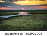 sunset over the national park... | Shutterstock . vector #302931008