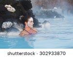 Woman Relaxing In Geothermal...