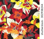 floral seamless pattern  ... | Shutterstock .eps vector #302938244