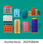 apartment houses icons set in... | Shutterstock .eps vector #302938646