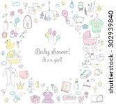 set of baby shower design...   Shutterstock .eps vector #302939840