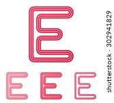 crimson line e logo design set