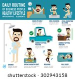 daily routine of happy business ... | Shutterstock .eps vector #302943158