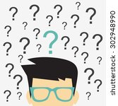 businessman with question mark... | Shutterstock .eps vector #302948990