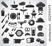 restaurant icon set. | Shutterstock . vector #302955479