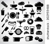 restaurant icon set. vector art. | Shutterstock .eps vector #302955488