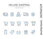 online shopping icons set....   Shutterstock .eps vector #302960129