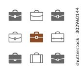 vector set of briefcase icons.... | Shutterstock .eps vector #302960144