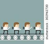 business situation. conveyor... | Shutterstock .eps vector #302962730