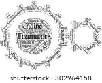 word cloud in the form of gears