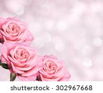floral border blurred... | Shutterstock . vector #302967668