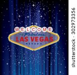 vector las vegas sign on blue... | Shutterstock .eps vector #302973356