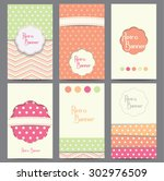 set of vector retro style... | Shutterstock .eps vector #302976509