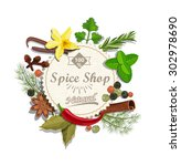 spice shop paper emblem with... | Shutterstock .eps vector #302978690