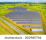 aerial view to solar power... | Shutterstock . vector #302985746