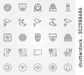 home security cameras icons  ... | Shutterstock .eps vector #302988686