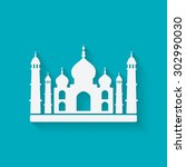 taj mahal on blue background.... | Shutterstock .eps vector #302990030
