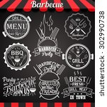 white barbecue party collection ... | Shutterstock .eps vector #302990738