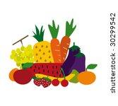 vector set of fruit | Shutterstock .eps vector #30299542