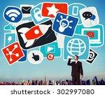 social media startup strategy... | Shutterstock . vector #302997080