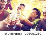 diverse people friends hanging... | Shutterstock . vector #303001250