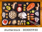 set of traditional japanese... | Shutterstock . vector #303005930