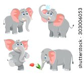 elephant set. vector... | Shutterstock .eps vector #303006053