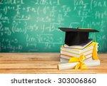 graduation  diploma  mortar... | Shutterstock . vector #303006860