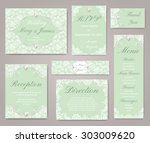 wedding invitation cards with... | Shutterstock .eps vector #303009620