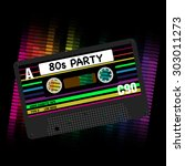 80s party background  ... | Shutterstock . vector #303011273